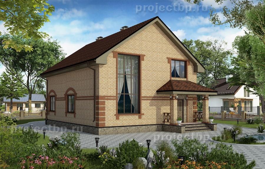 Проект дома со вторым светом в гостиной 160-B-1